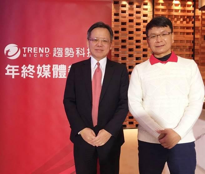 趨勢科技台灣區暨香港區總經理洪偉淦(左)表示,企業可從數位轉型的目標思考,將資安放入企業策略思維模式中,提升威脅防禦可見度。(趨勢科技提供/黃慧雯台北傳真)