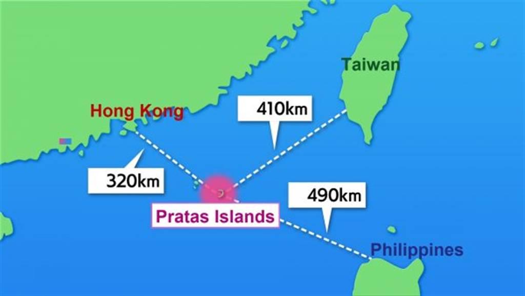 日本東視製作的東沙島距大陸、台灣與菲律賓距離圖。(圖/日本BS東視)