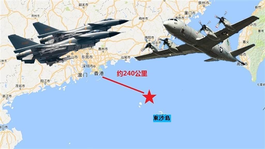2017年5月至7月中共軍機連續驅逐美軍偵察機的位置就在東沙島旁。(圖/新浪軍事)