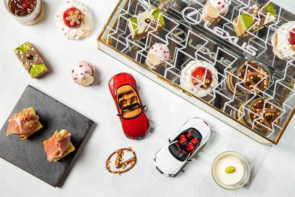 平塚牧人主廚精心打造的LEXUS午茶組盛裝於貼著代表LEXUS家族風格的Spindle Grille紡錘型水箱護罩圖騰的珠寶盒中。