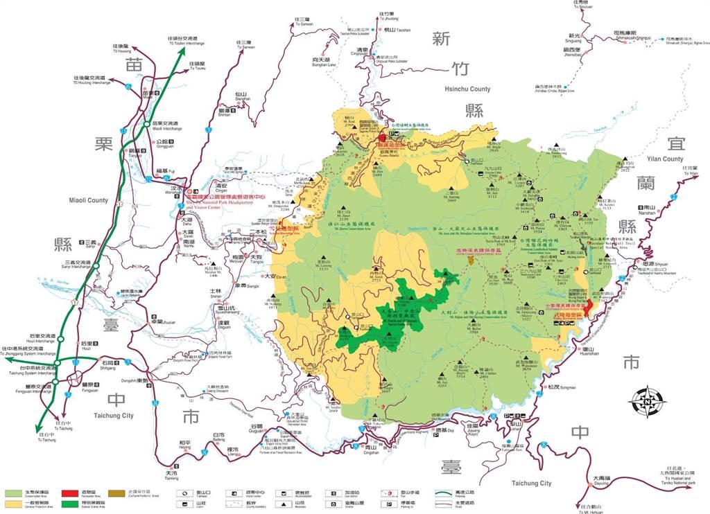 雪霸國家公園位置及現行計畫範圍圖。(雪霸國家公園管理處提供/巫靜婷苗栗傳真)