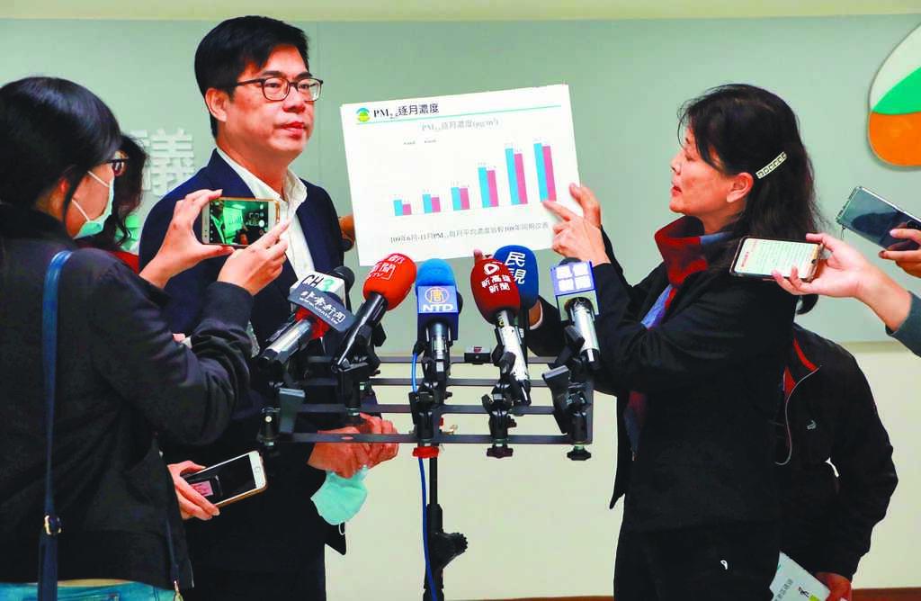 高雄市府15日市政會議後,市長陳其邁(左)、環保局長張瑞琿(右)共同對外說明這幾天相關空汙應變措施。(林宏聰攝)