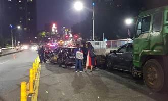 下班時段德民新橋8車追撞 幸無人受傷
