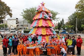 苗栗市打造浪漫繽紛粉鑽世界 全台唯一客家耶誕樹搭配馬卡龍耶誕燈區