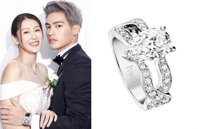 赵孟姿在婚礼仪式上所配戴的「Jardin Secret铂金钻戒」主钻为2.14克拉,正好代表着甜蜜的情人节,数字的巧合堪称最暖祝福。(图/品牌提供)