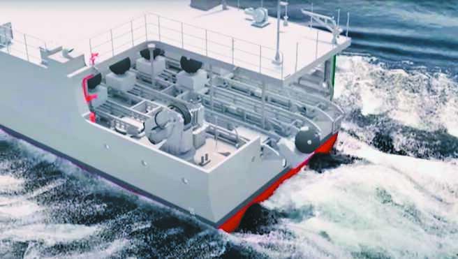 海軍15日公布下水的快速布雷艇,根據現場介紹影片,滿載船速14節、滿載排水量347噸,搭載T-74排用機槍、T-75-20機砲,並有中科院研發的自動化布雷系統。(海軍提供)