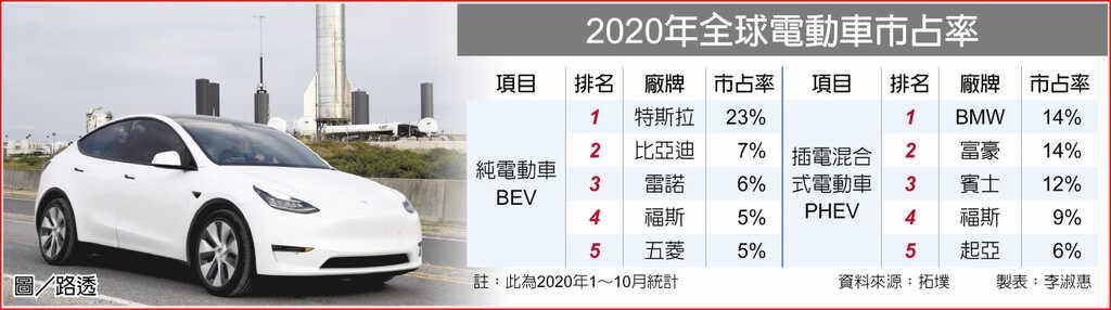 2020年全球電動車市占率