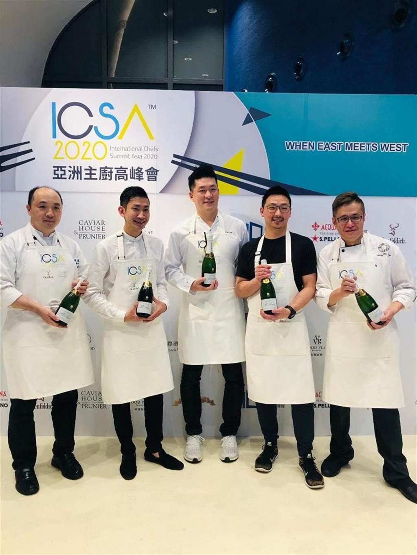 亞洲主廚高峰會在台中國家歌劇院登場,包括漢來美食中餐品牌長羅嶸(左一)、金悅軒主廚黃志龍(右一)等名廚受邀展現精湛廚藝。圖/業者提供