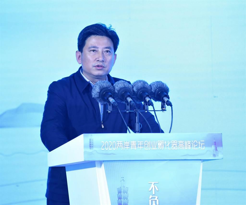 南京市台办主任张屹致词。(记者陈思豪摄)