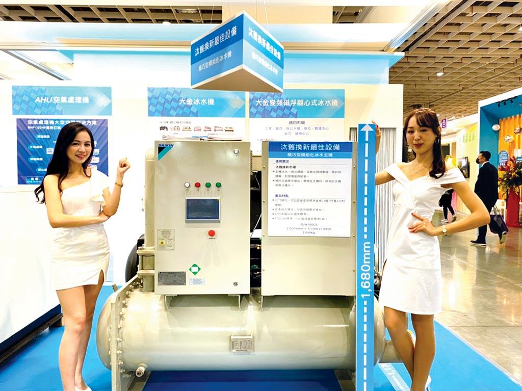 單螺旋滿液式冰水機,體積小,可模組化串聯,能效1級,是業者要汰舊換新的最佳設備。圖/業者提供