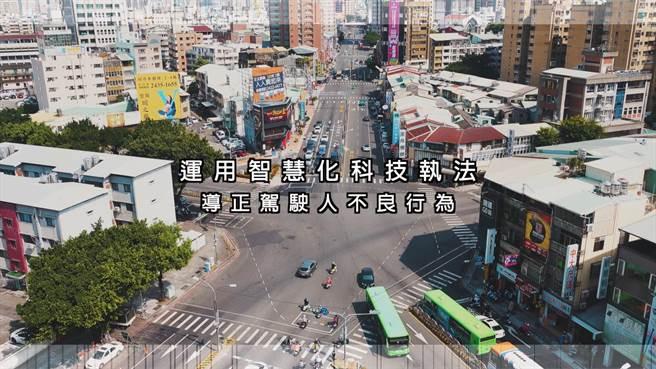 台中市科技執法明年上路,北區三民、崇德、五權、錦南等不對稱路口,路況複雜,率先設置,共16支「AI偵測攝影機」自動擷取違規車輛影像。(台中市警察局提供/張妍溱台中傳真)