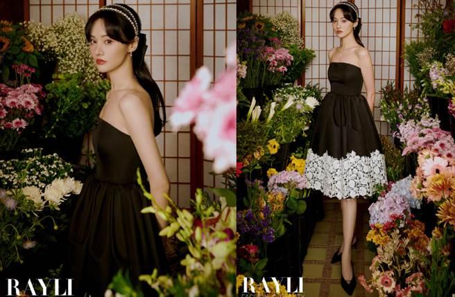 鄭爽穿上Prada黑色抹胸裙化身遊戲人間的花間仙女。(圖/摘自微博@瑞丽服饰美容)