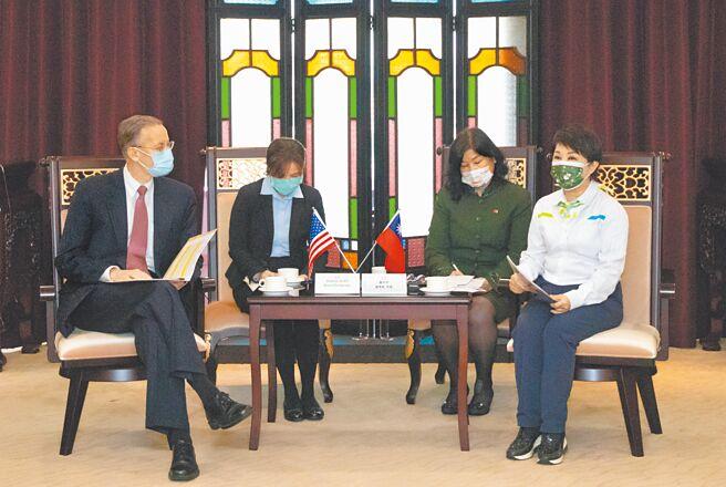 美国在台协会(AIT)处长郦英杰(左)16日到台中市政府拜会;市长卢秀燕(右)当面表达市民反对放宽含莱剂猪肉进口的立场。(陈世宗摄)