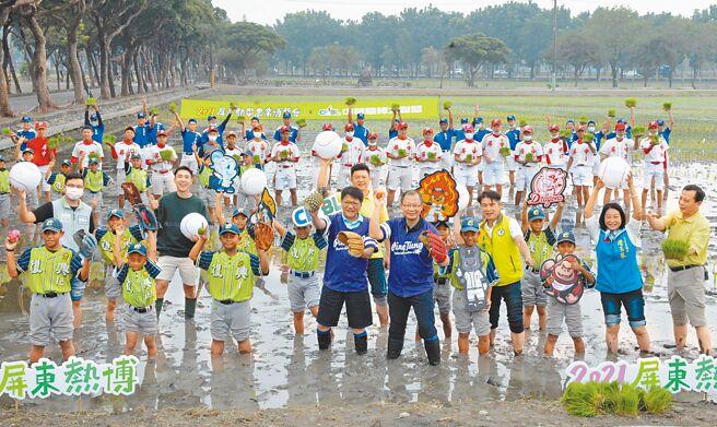 屏东热带农业博览会今年与中华职棒大联盟合作,将把职棒5队吉祥物种在彩稻田上。(林和生摄)