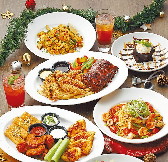 Global Mall新北中和店的TGI FRIDAYS耶诞4人派对餐,明年1月4日前推荐价3880元。(Global Mall提供)