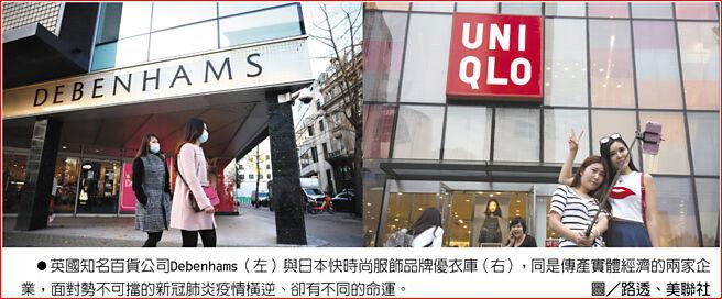 英国知名百货公司Debenhams(左)与日本快时尚服饰品牌优衣库(右),同是传产实体经济的两家企业,面对势不可挡的新冠肺炎疫情横逆、却有不同的命运。图/路透、美联社