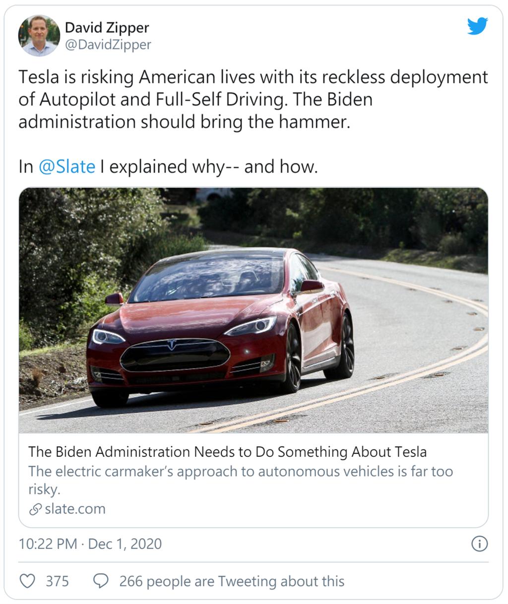 哈佛學者呼籲拜登「上任就採取行動」:禁止特斯拉用車主實驗自動駕駛功能