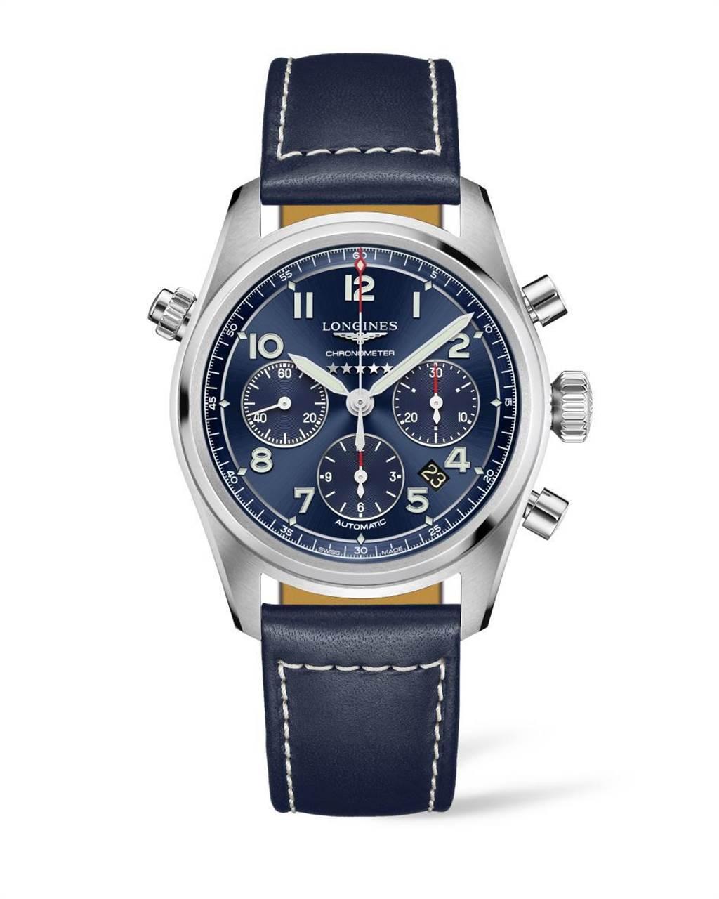 浪琴表Spirit先行者系列藍色面盤計時碼表,10萬300元。(Longines提供)