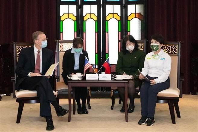 美國在台協會處長酈英傑(左)16日到台中市政府拜訪市長盧秀燕(右)。(陳世宗攝)
