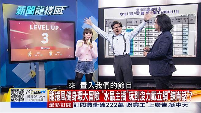 新聞龍捲風節目大玩健身環求贊助 (左起)王宜安、戴立綱、謝晨彥。 (圖/中天新聞台提供)