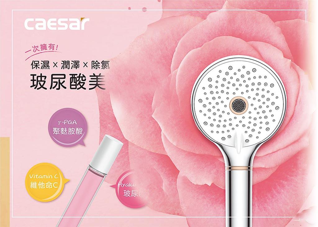 凱撒衛浴的玻尿酸美容花灑,使用最新的3D釋放技術,確保美容因子均勻且穩定地釋放至水中,1890元。(凱撒衛浴提供)