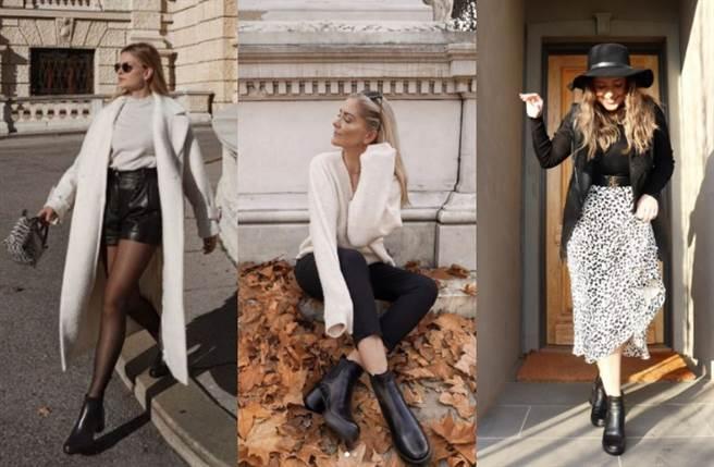 北歐部落客Leonie Sarah(左)善用黑白穿搭原則,巧妙以長版白色大衣、皮革短裙、絲襪穿出性感風。(圖/IG@leonie_lion、si_sichen、jordy__lucas)