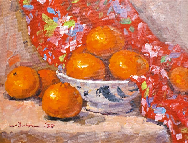 潘蓬彬,《大吉》,油畫,27x35cm,2020年。圖片提供/中時藝博