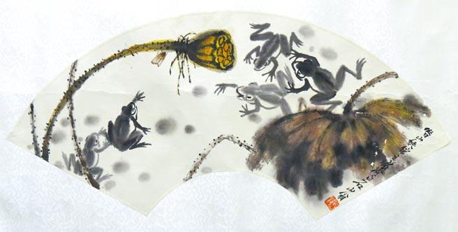 齊白石,《扇面》,水墨,L36cm。圖片提供/中時藝博