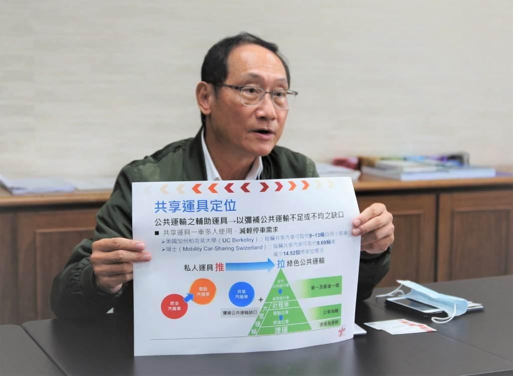 臺北市交通局長陳學台說明智慧交通4U的成果,連他自己都改變養車開車習慣。(圖/吳竟意攝)