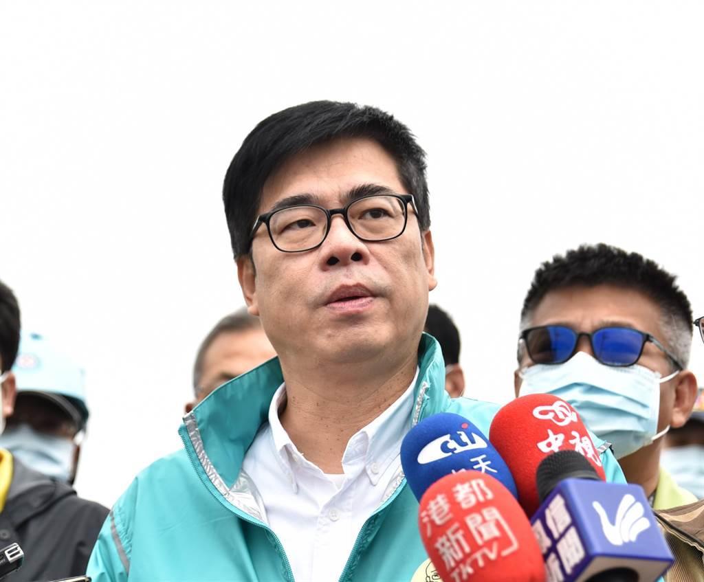 高雄市長陳其邁(前)。(林瑞益攝)