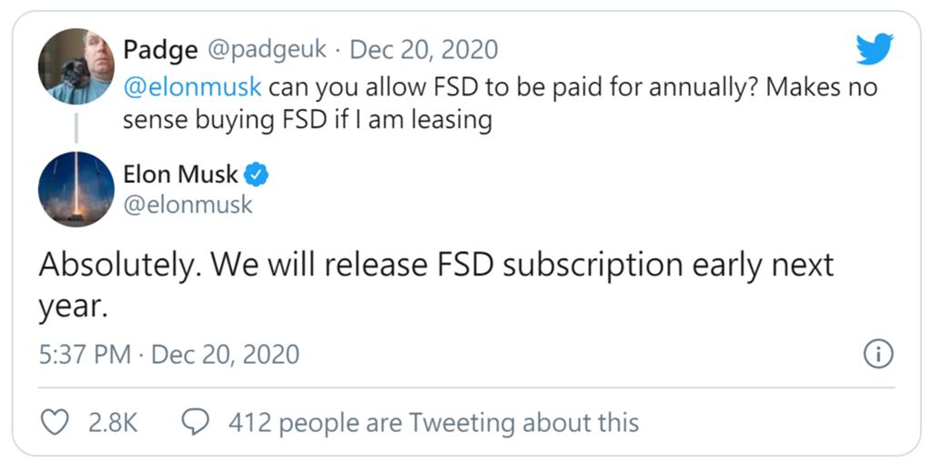 特斯拉將於 2021 年初推出 FSD 訂閱制度:月費或年繳?哪個比較好?