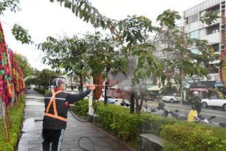 彰化市區大花紫薇「滴黑油」 公所噴灑菌液防治