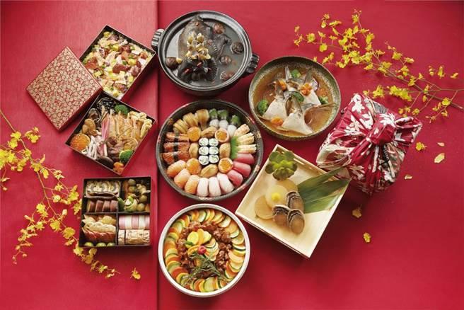 新竹喜來登「迎月庭日式料理」供應「日式年菜餐盒」、「盛合壽司盤」等多道日式道地年菜。(新竹喜來登提供/羅浚濱新竹傳真)