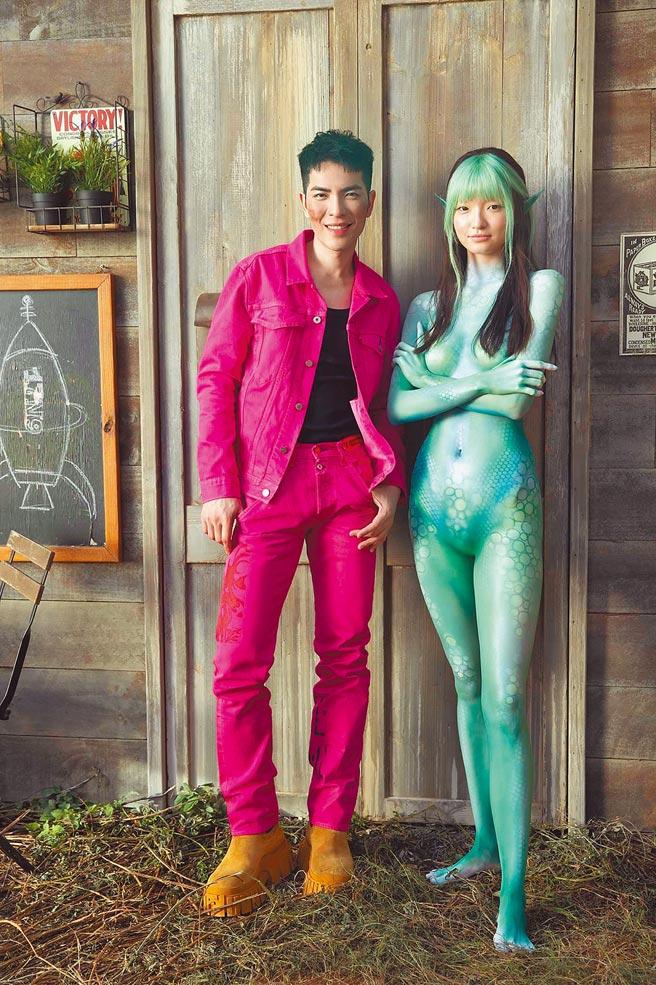 蕭敬騰推出單曲〈薩哈星球〉,MV描述地球人與外星女孩邂逅,女模潘星妤展現特殊妝容。(翻攝自蕭敬騰Jam Hsiao臉書)