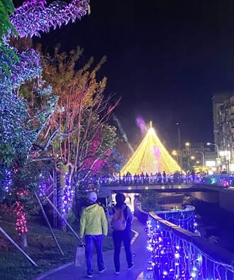 民間自籌葫蘆墩圳聖誕樹 昨晚點亮水岸花都的夜空