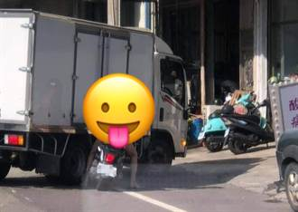 長腿全裸騎士爽逛台南大街 後方駕駛全看呆