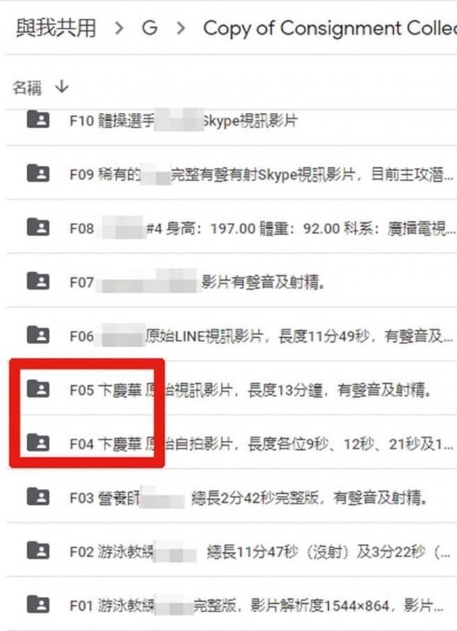 在疑似余男的雲端資料夾中,有兩段標示為卞慶華的影片,並詳細註明影片長度及內容。(圖/翻攝自雲端資料頁面)