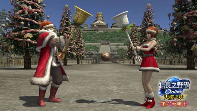 《信長之野望Online》一同演奏聖誕歌曲。(圖/遊戲新幹線提供)