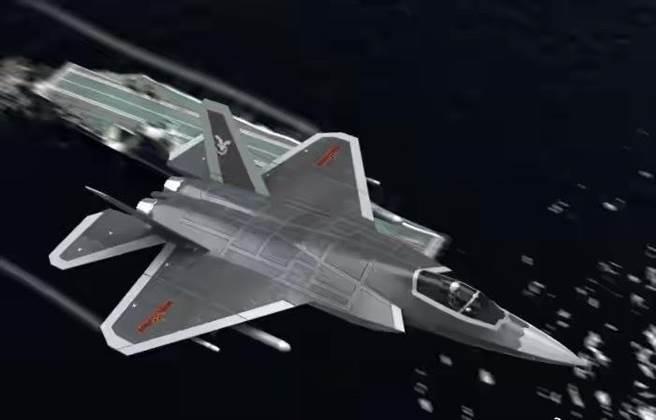 殲-35據傳與FC-31鶻鷹隱形戰機類似,發動機、雷達、飛控等都採用目前最先進技術,並針對上艦進行適應性改進。圖為艦載版隱形戰機想像圖。(圖/微博)