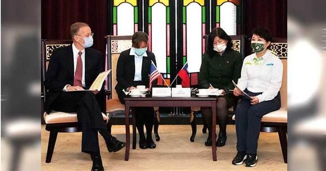美国在台协会(AIT)处长郦英杰(左)16日到台中市政府拜会;市长卢秀燕(右)当面表达市民反对放宽含莱剂猪肉进口的立场。(图/报系资料库)