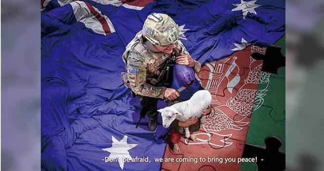 2020年11月30日/澳洲总理莫里森表示,坎培拉正要求北京就中国外交部发言人赵立坚推特上一张图片道歉,该推文照片显示,澳洲士兵将刀架在阿富汗儿童喉咙上,澳洲指为不实照片。(图/翻摄自立坚推特)