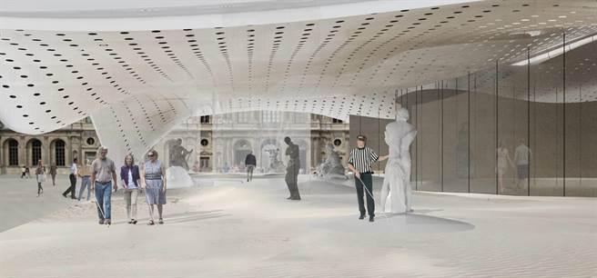 台科大建築系團隊針對法國羅浮宮戶外廣場提出展覽空間設計,運用聲音及觸覺帶領視障者自由體驗美術館。(台科大提供/李侑珊台北傳真)
