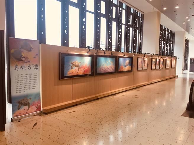 國立海洋科技博物館結合陳九熹作品,舉辦「自然脈動 生態工筆展」。(國立海洋科技博物館提供/陳彩玲基隆傳真)