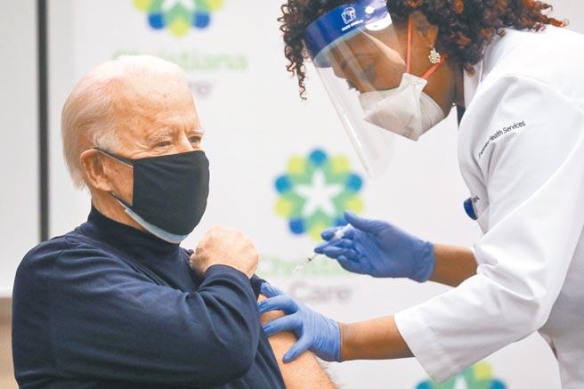 现年78岁的拜登,21日在德拉瓦州纽瓦克克莉丝提娜医院,透过现场全程电视转播,施打由辉瑞及德国BNT合作研发的疫苗,藉此增强民眾信心。(路透)