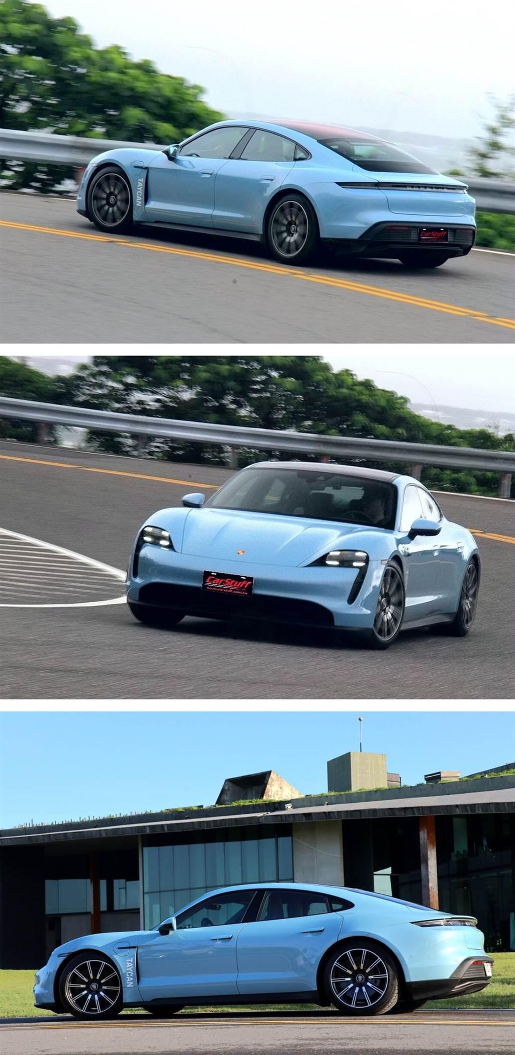 擁有0.22 cd特低風阻係數的Taycan,造型可說是Panamera與911的融合,當然長的身形讓他看起來就像Panamera,車長為4,963mm、車寬1,966mm、車高1,378mm,軸距則達到2,900mm,車身尺碼較Panamera略小(但軸距相近),屬於C-Segment。而頭尾的輪廓則比Panamera更趨近於911的隆起外擴感。