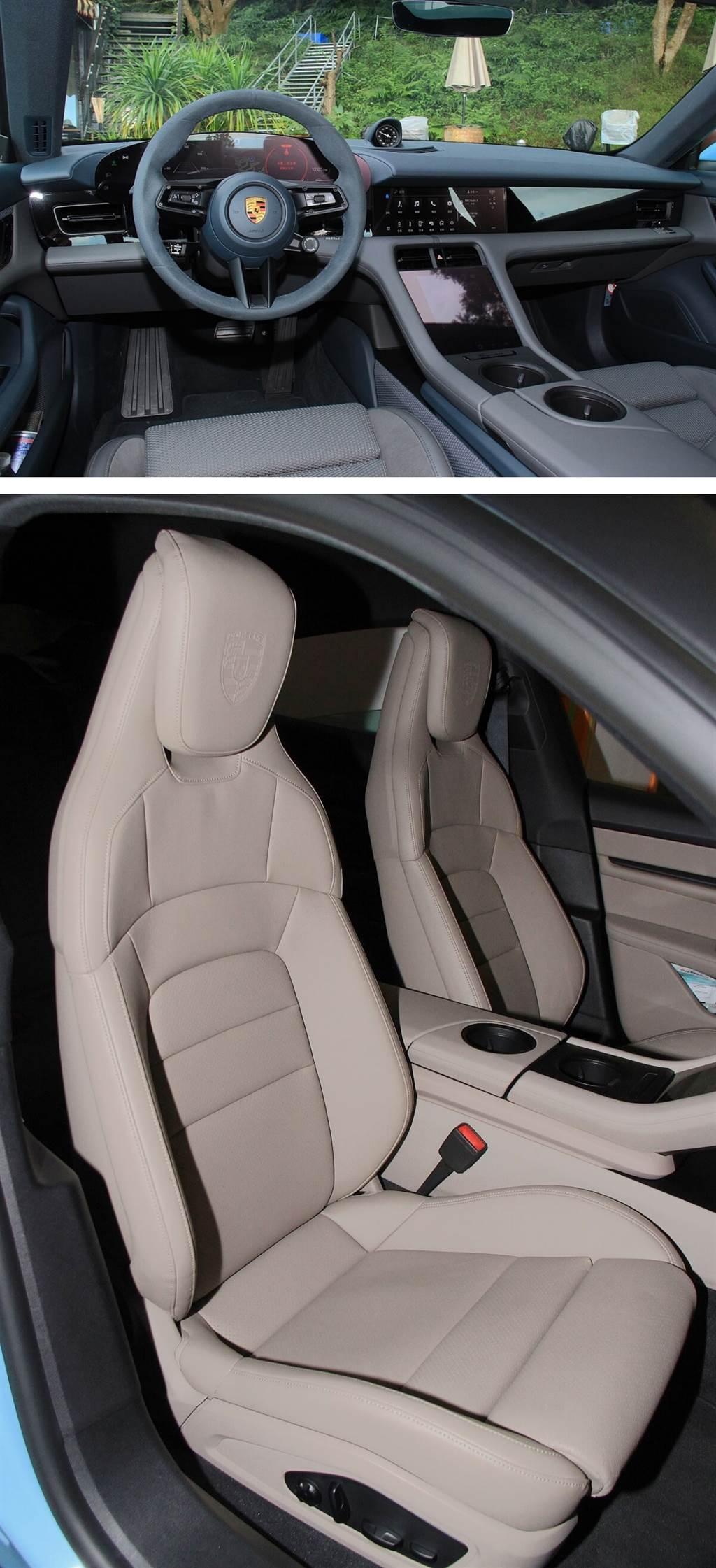 遵循永續理念的Club皮革,亦即「OLEA」,該款皮革鞣製過程中使用了橄欖葉。Taycan也是保時捷首款提供「無皮革」內裝的車款(下圖),此款Leather-free內裝在Taycan 4S中須加價25.87萬,所採用的Race-Tex超細纖維材料,是一種由再生聚酯纖維制成的紡織品。Porsche表示製作過程可比動物性皮革少80%的碳排放。另外,地板覆蓋物還使用再生纖維Econyl製程,其原料主要包括來自廢漁網的回收。