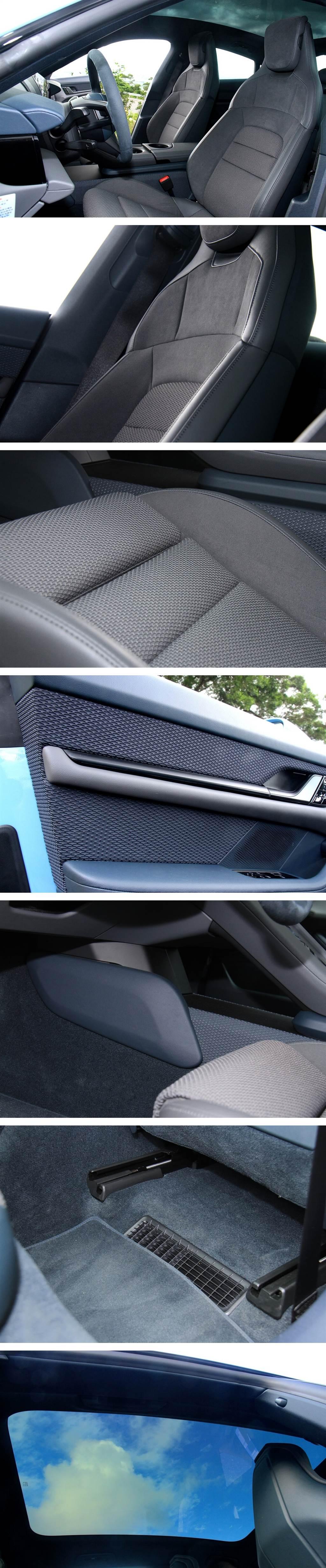 須加價10.23萬的全景式玻璃車頂也是一項值得推薦的選配,其並未配置遮陽簾,這是因為Porsche此款玻璃車頂有多層金屬鍍膜,可完全隔絕車外熱度,並且有非常寧靜的效果,傾盆大雨打在車頂,坐在車內完全無任何來自車頂的落雨擊打的聲響。