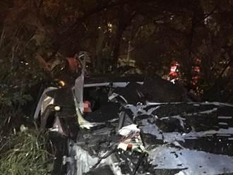 國1驚悚死亡車禍 轎車衝出路肩撞樹1死1傷