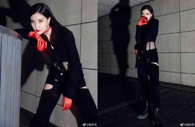 宋妍霏近日身穿一套露腰黑西裝登上節目《明星大偵探》第六季。(圖/摘自微博@瑞丽网)