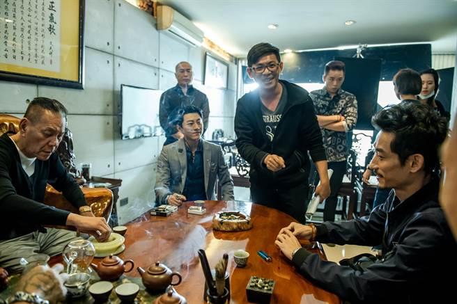 《角頭-浪流連》卡司陣容堅強,龍劭華(左起)、盛鑑、導演姜瑞智、陳竹昇。(巧克麗娛樂提供)